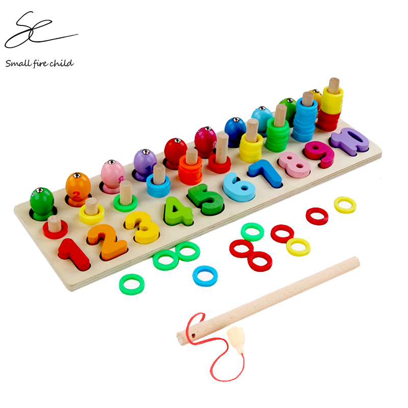 Children Wooden Montessori Learning To Count Numbers Matching Digital Shape Match Early Education Teaching Math Fishing Toys