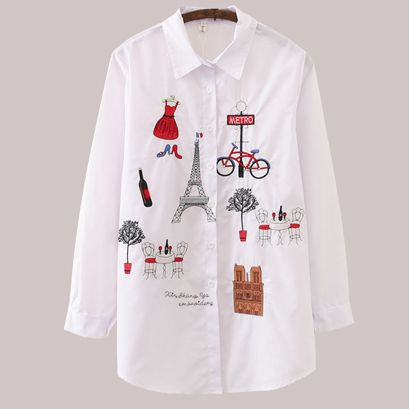 White Blouse Women Plus Size Long Sleeve Autumn Winter Womens Tops And Blouses 2019 Women Casual Cotton Shirt Embroidery Blouse