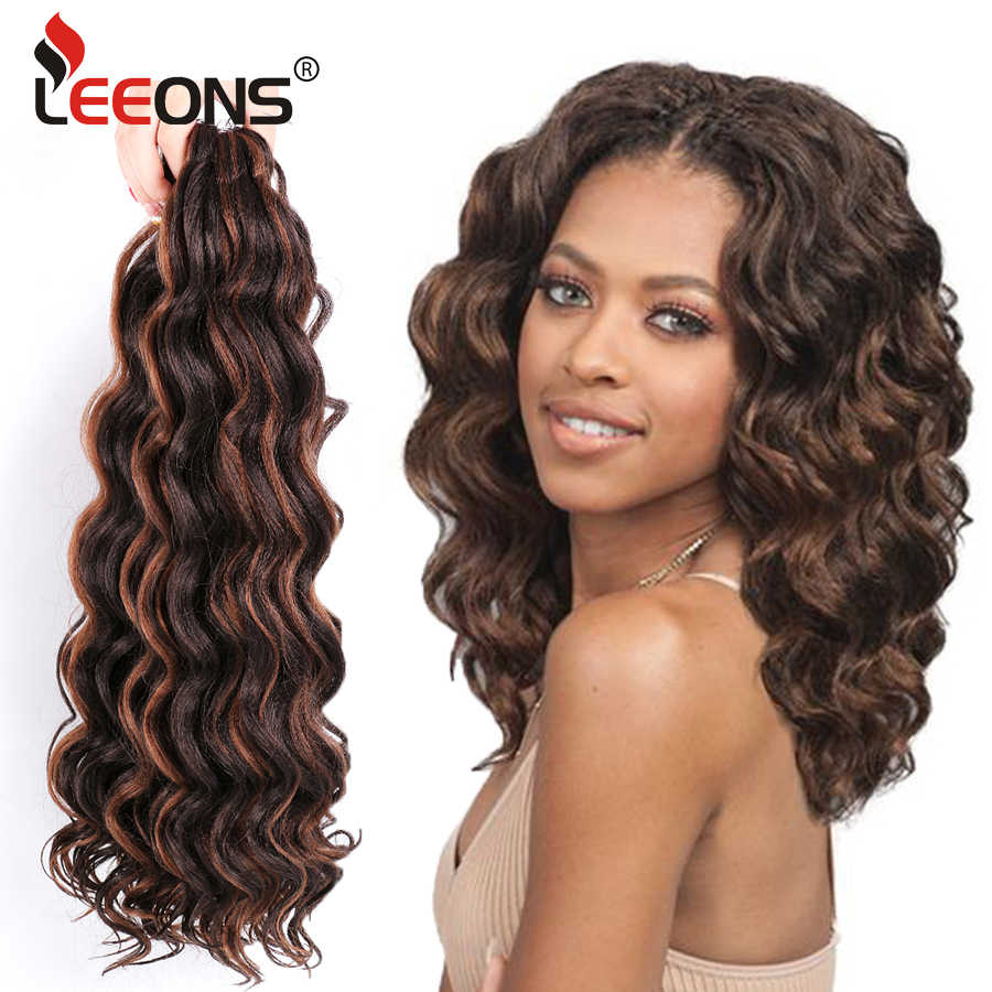 Leeons Water Wave Haak Hair Extensions Synthetisch Haar Kanekalon Wave Haak Hair 80 g/pak 1Pc Krullend Haak Hair 4 kleuren