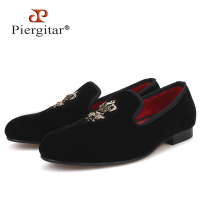 Piergitar bees Indian silk embroidery men velvet shoes fashion men loafers for wedding and party men's casual shoes plus size