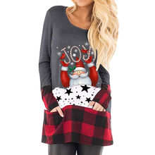Womens Christmas Tops Plaid Splice Hem Long Sleeve Cute Tunic Harajuku Blouse Suitable Casual T-Shirt футболка женская #30(China)