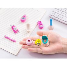 1set/lot Cute Play Bathroom Series Rubber Eraser Office School Stationery Kids Writing Drawing Student Gift