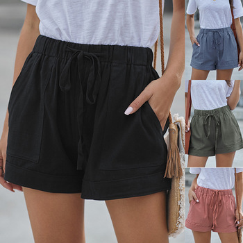 Women Summer Shorts Casual Home Solid Color Shorts Female Ladies High Waist Drawstring Wide Leg Pockets Short Pants Size S-2XL