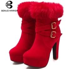 BONJOMARISA Big Size 31-43 Elegant Platform Booties Ladies Faux Fur Ankle Boots Women 2019 Winter Warm High Heels OL Shoes Woman