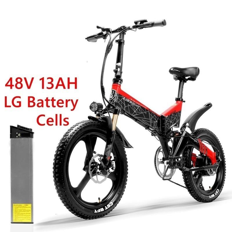 full LANKELEISI Foldable electric bike G650 suspension 7 Speeds 48V 400W Motor 13AH Battery 4