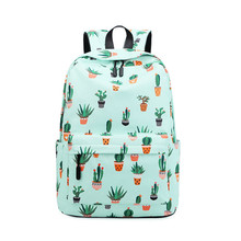 The new cactus print backpack female junior high school students small fresh school bag Korean large capacity casual backpack