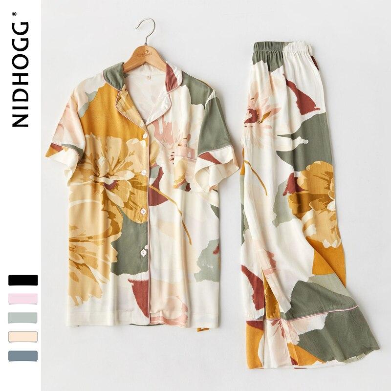 Women Korean V-neck Ink Printing Short Sleeve Pants Pajamas Loungewear Viscose Sleepwear Sexy Satin Pijama 2 Set Sleep Clothing