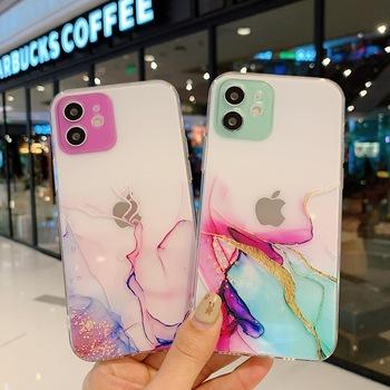Przezroczysty marmurkowy futerał na telefon IPhone X XS XR 11 12 Mini Pro Max SE 2020 6 6S 7 8 Plus kolorowy obiektyw koło osłona ochronna tanie i dobre opinie NoEnName_Null APPLE CN (pochodzenie) Częściowo przysłonięte etui Marble pattern mobile phone case Zwykły