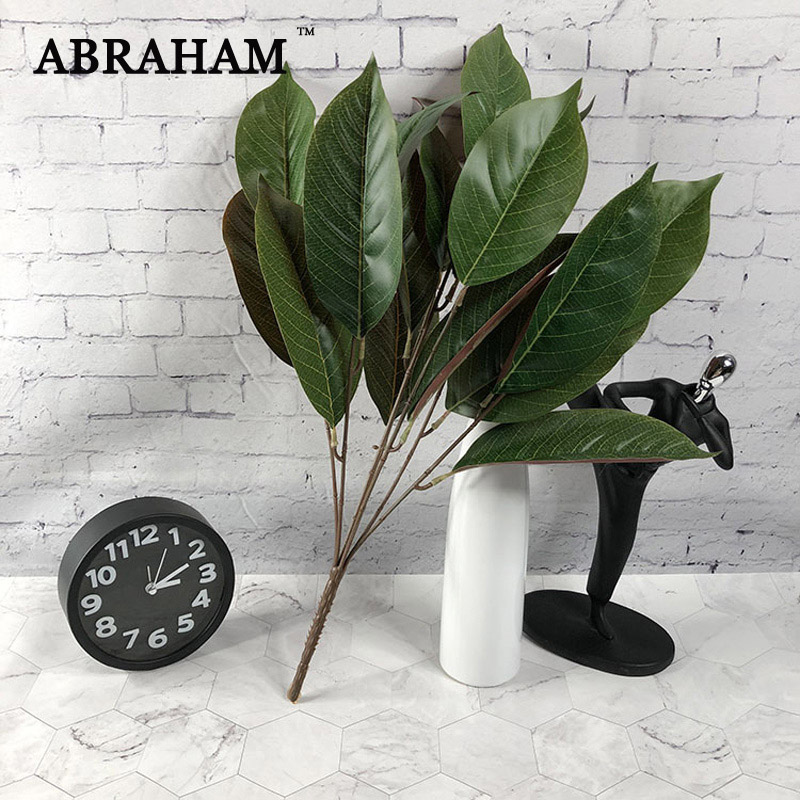 50cm 7fork Fake Magnolia Plant Leafs Bouquet Artificial Silk Leaves Tropical Plant Wall Foliage For DIY Bonsai Home Table Decor