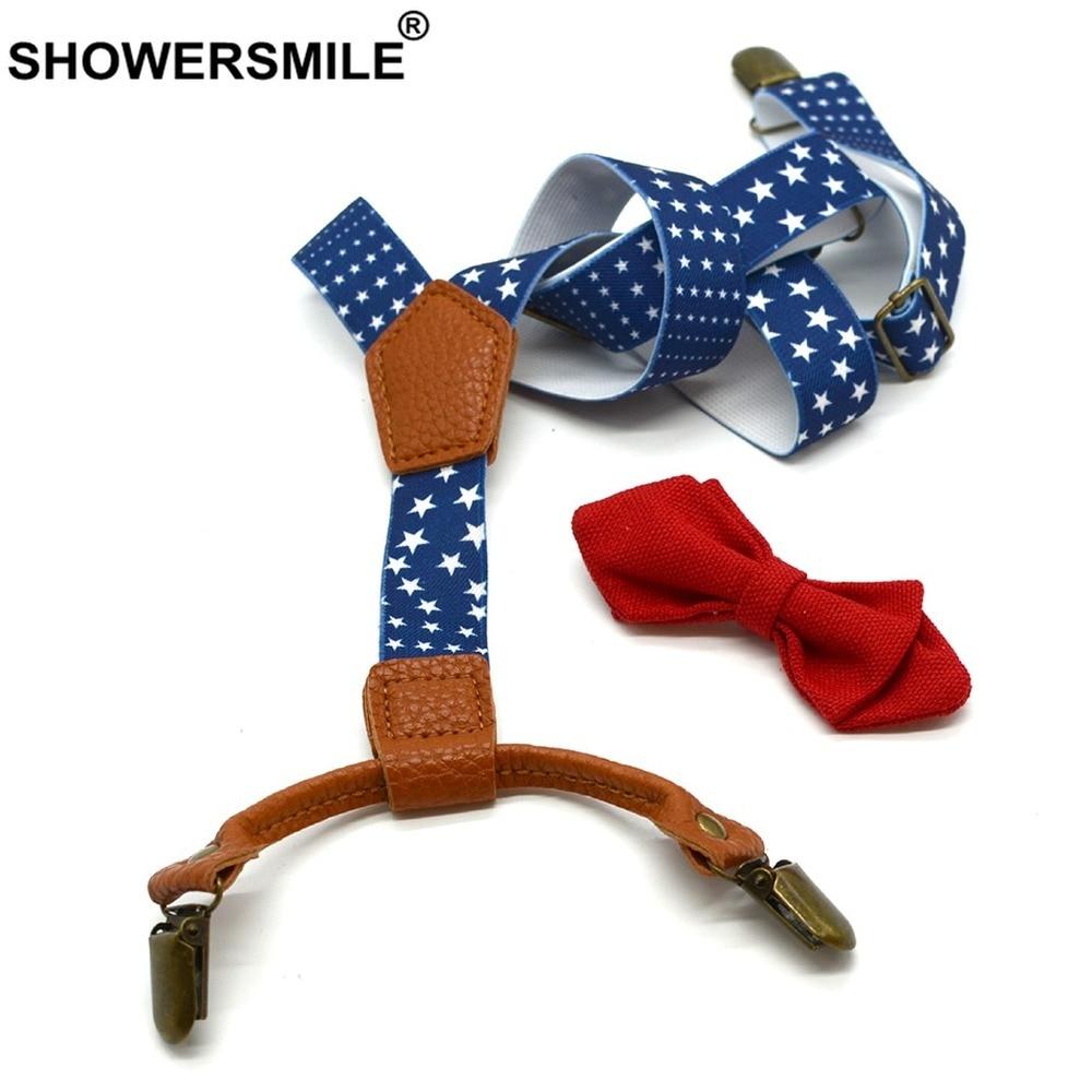 Strar Print Bow Tie Suspenders Boys Fashion Kids Suspenders Set Elastic Suspenders 4 Clips Children Wedding Braces 65cm*2.5cm