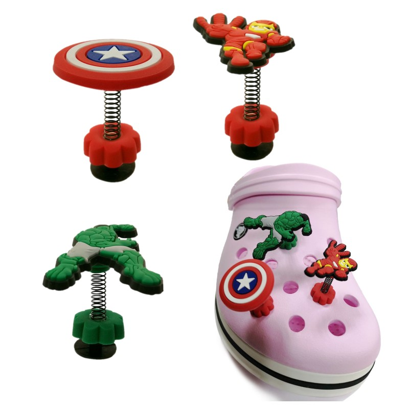 1pcs AVENGERS SUPER HEROES Spring/Standing Shoe Charms Jibz Croc Charms Crocse Accessories Decoration Birthday Gifts For Kids