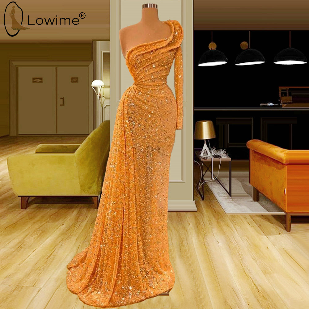 Glitter Orange One Shoulder Long Sleeve Sequined Mermaid Evening Dresses Kaftans Floor Length Robe De Soiree Prom Party Gowns