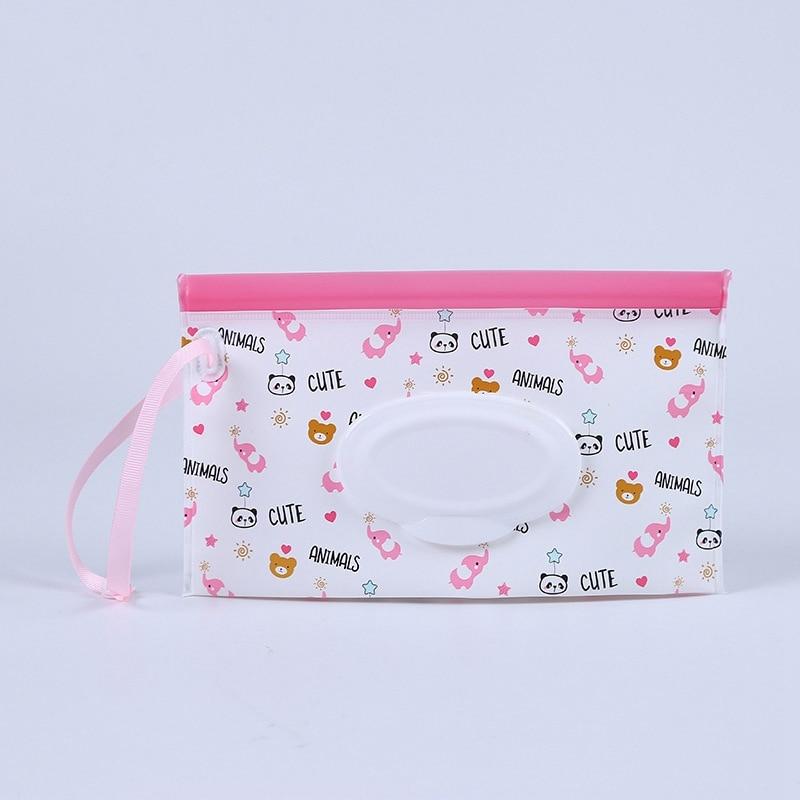 Детская сумка для влажных салфеток, тонкая бумажная практичная сумка для путешествий, портативный клатч, чехол для переноски, многоразовый, экологичный, сумка - Цвет: 5