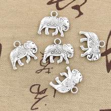 4pcs Charms Thailand Mounts Elephant 16x20mm Antique Silver Color Plated Pendants Making DIY Handmade Tibetan Finding Jewelry(China)