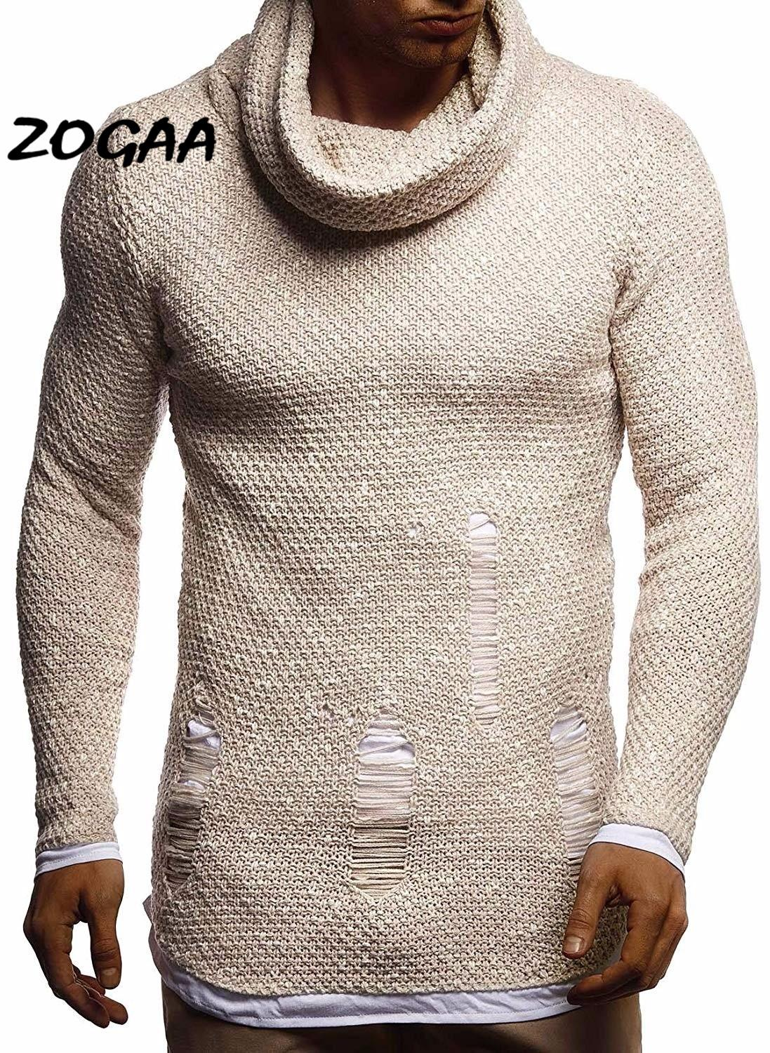 ZOGAA Casual Men's Sweater Turtleneck Slim Sweater Autumn Men's Sweater Pullover Pullover Men