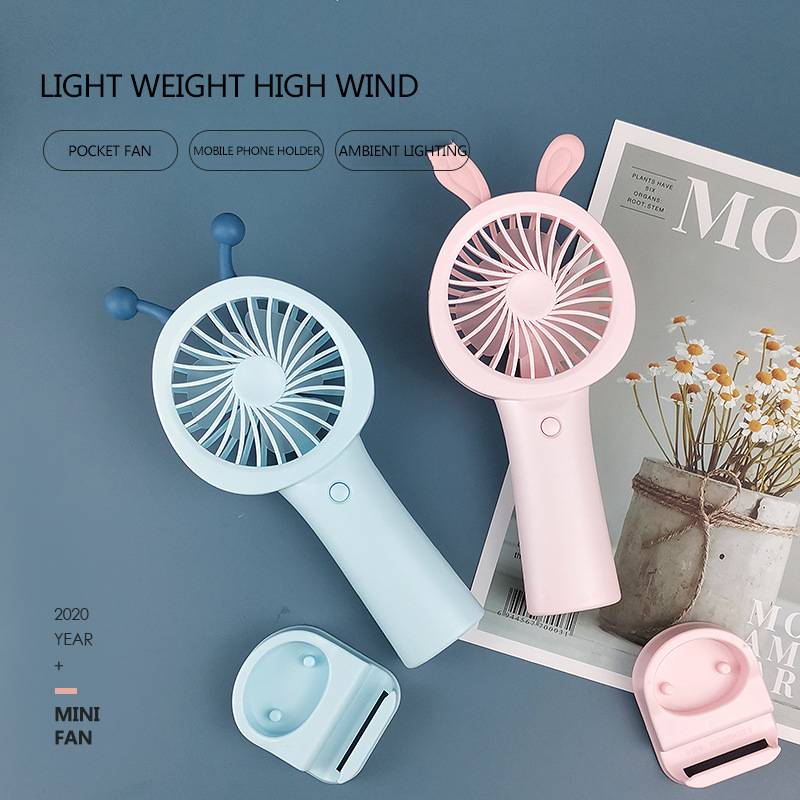 2020 Hot Sale Small Fans Usb Charging Mini Fan Pocket Hand Hold Student Mute Portable Pocket Fan Mobile Phone Holder