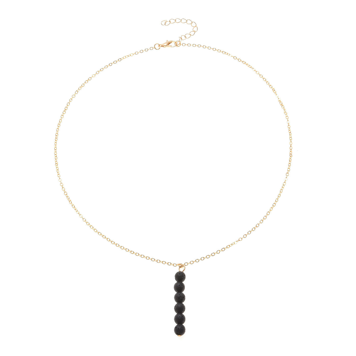 New Arrival Black Crystal Beads Tassel Pendant Necklace Ladies Personality Simple Clavicle Chain Women Collares Jewelry XL436