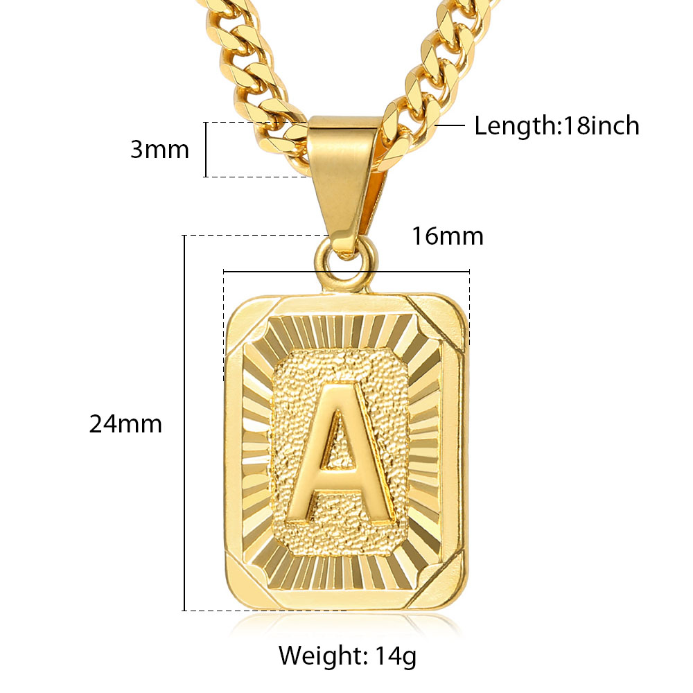 A-Z Pendant Letter Necklace for Men Women Stainless Steel Curb Cuban Chain Wholesale Dropshipping Jewelry US Stock 18inch DGP62 5