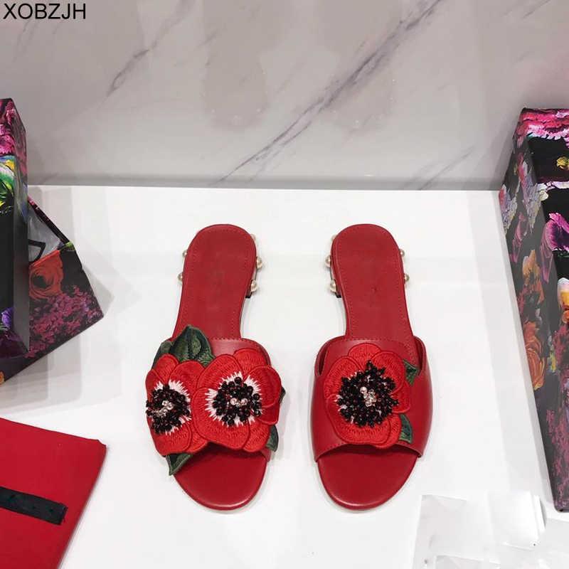 夏の女性の靴フラット豪華なサンダル 2019 ブランドのデザイナーの G サンダル黒レディース本革サンダルスリッパの靴の女性