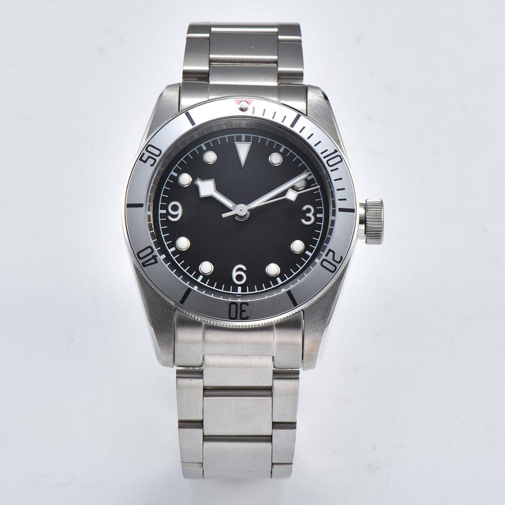 fashion mens watch 41mm 316L stainless steel case black sterile dial mineral glass aluminum bezel 05