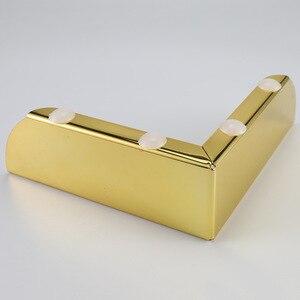 Image 4 - 4 stücke Gold Metall Möbel Beine mit Gummi Füße Pad Schrank Tisch Beine Hardware Sofa Möbel Fuß Ebene