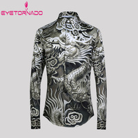 3D Dragon Print Long Sleeve Men Shirts Korean Style Casual Streetwear Floral Shirt Slim Fit Plus Size Business Shirts Tuxedo