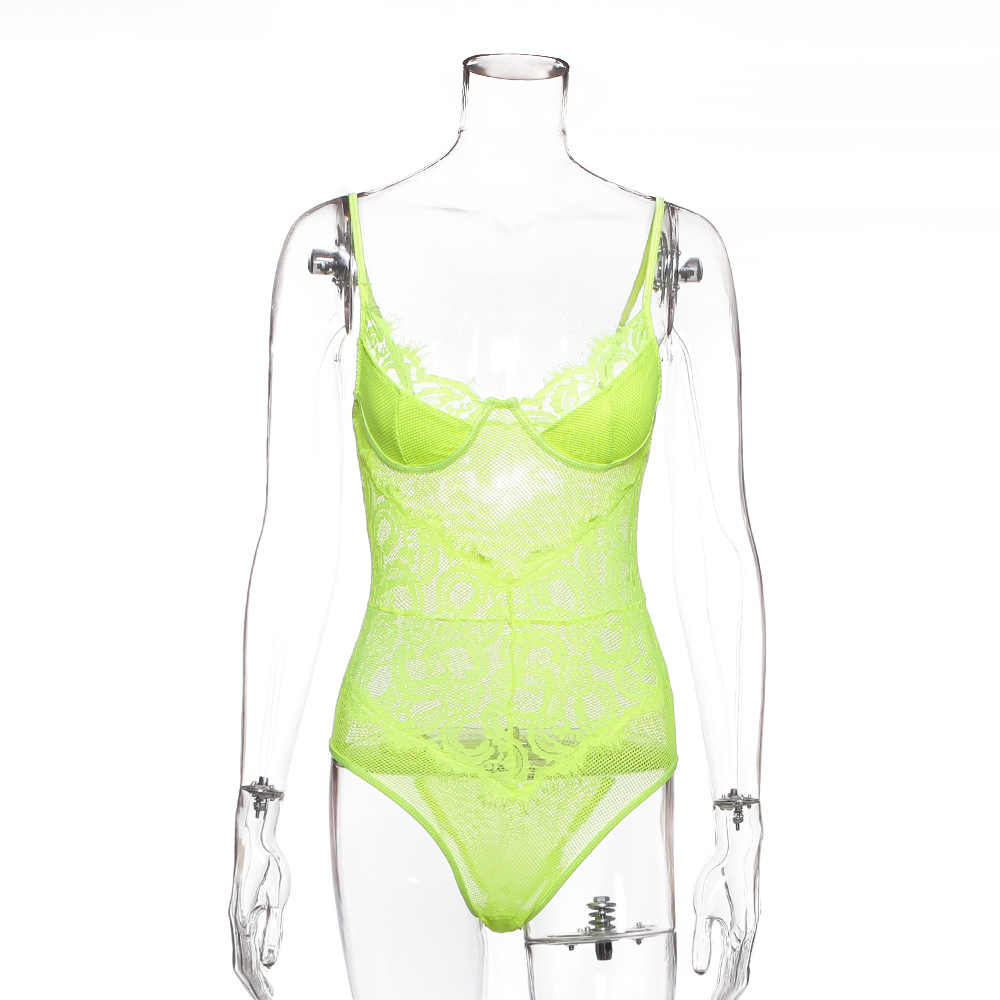 Ellolace Neon Kant Mesh Elegante Bodysuit Vrouwen Vrouwelijke Jumpsuit Backless Transparante Sexy Bodycon Bodys Zomer Witte Bodysuits