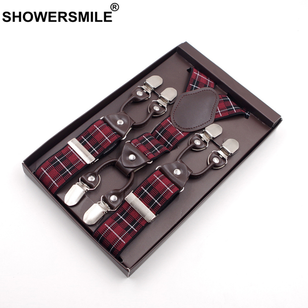 SHOWERSMILE Mens Trouser Braces British Red Plaid Suspenders 6 Clips Jacquard Business Formal Elastic Leather Male Pants Strap