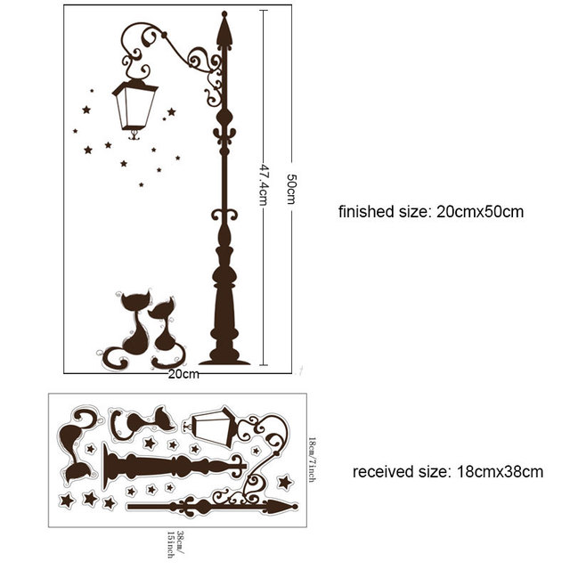 Cute Cat Fashion Lamp Post 50*20cm Wall Covered 6