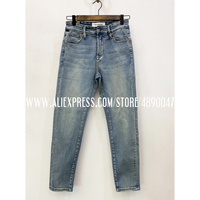 Washed old jeans ladies moms jeans Elastic high waist pants boyfriend jeans mid rise straight casual women's trousers