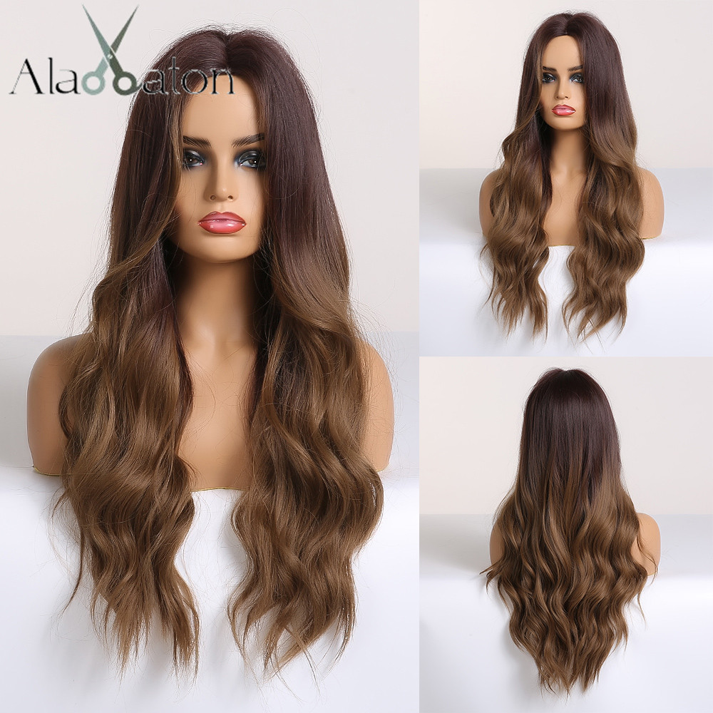ALAN EATON Long Wavy Ombre Black Brown Wigs Wave Synthetic Wig For Women Natural Middle Part Heat Resistant Hair Cosplay Wigs