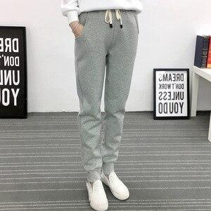 Image 4 - Jvzkass pantalones de chándal de talla grande para mujer, pantalón informal de lana de cordero, con relleno de terciopelo, Z54, para invierno, 2020