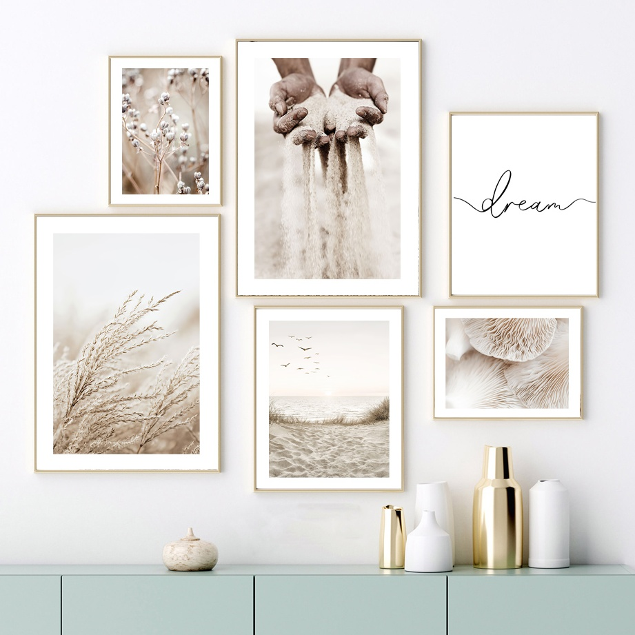 Beige Mushroom Cotton Reed Grains Of Sand Wall Art Canvas Painting Nordic Posters And Prints Wall Pictures For Living Room Decor