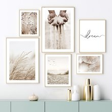 Fungo Beige cotone Reed grani di sabbia Wall Art Canvas Painting Nordic Posters And Prints immagini murali per Living Room Decor