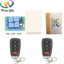 433mhz rf interruptor de controle remoto universal dc 12v 10amp 4ch relé receptor e transmissor para garagem \ porta \ motor \ cortina \ led