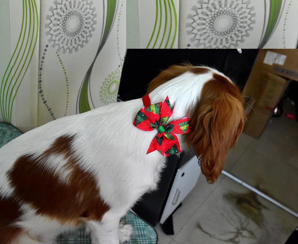 Image 2 - 50pcs Cats Dog Christmas Bow Tie Pet Dogs Bowtie Collar Holiday  Decoration Acciessories Christmas Grooming Pet Supplies 12colourdog  bowtie collardog bowtieties pet