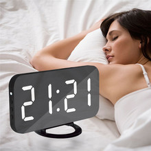 Digital LED Alarm Clock Mirror Snooze Display Time Night Led Table Desk 2 USB Charge Ports for iphone Androd Phone