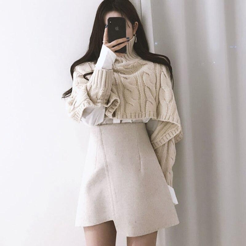Укороченный женский свитер с высоким воротом и длинным рукавом, осенне зимний абрикосовый джемпер в Корейском стиле Харадзюку, верхняя одежда, скрученный свободный свитер V991|Водолазки|   | АлиЭкспресс