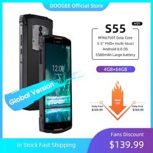 Смартфон IP68 DOOGEE S55, ОЗУ 4 Гб, ПЗУ 64 Гб, водонепроницаемый двухсимочный телефон, 5500 мАч, MTK6750T, 4G LTE, восьмиядерный, экран 5,5 дюймов, Android 8.0, камера 13...