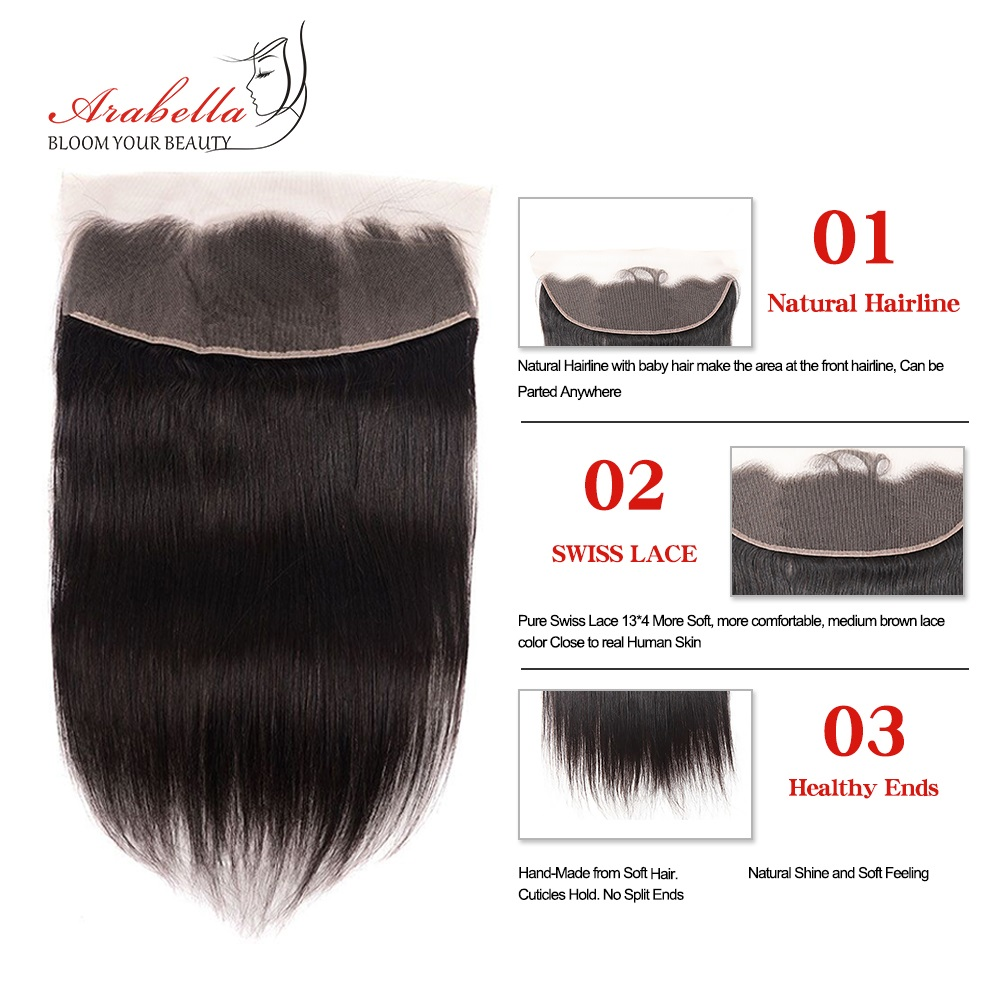 Super Double Drawn Straight Hair Bundles With 13*4 Lace Frontal Arabella Vrigin Hair 100%   Bundles 4