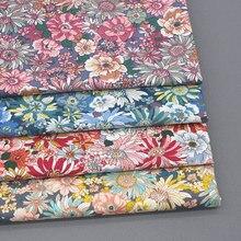 Fazendo o material do vestuário do vestido diy pano transparente popelina tecido macio floral 60s verão algodão 145x50cm camurça tecido simples urdidura