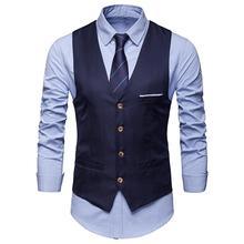 Для мужчин Классические формальные Бизнес размера плюс Для мужчин сплошной Цвет костюмный жилет Однобортный жилет для делового костюма смокинг жилетка