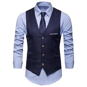 Suit Vest Tuxedo Waistcoat Business Classic Formal Plus-Size Men's Solid-Color Single-Breasted
