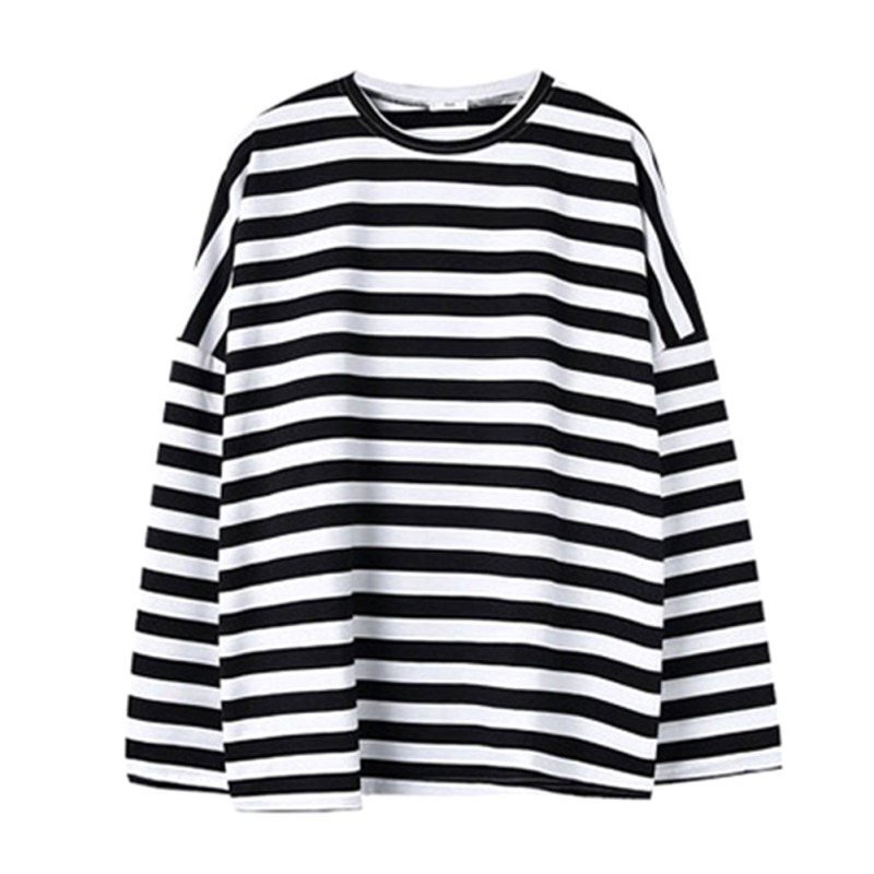 Autumn New Black And White Stripes Loose Long Round Neck Collar Pullover Clothes Women
