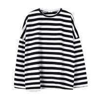 Herbst Neue Schwarz Und Weiß Streifen Lose Lange Rundhals Kragen Pullover Kleidung Frauen