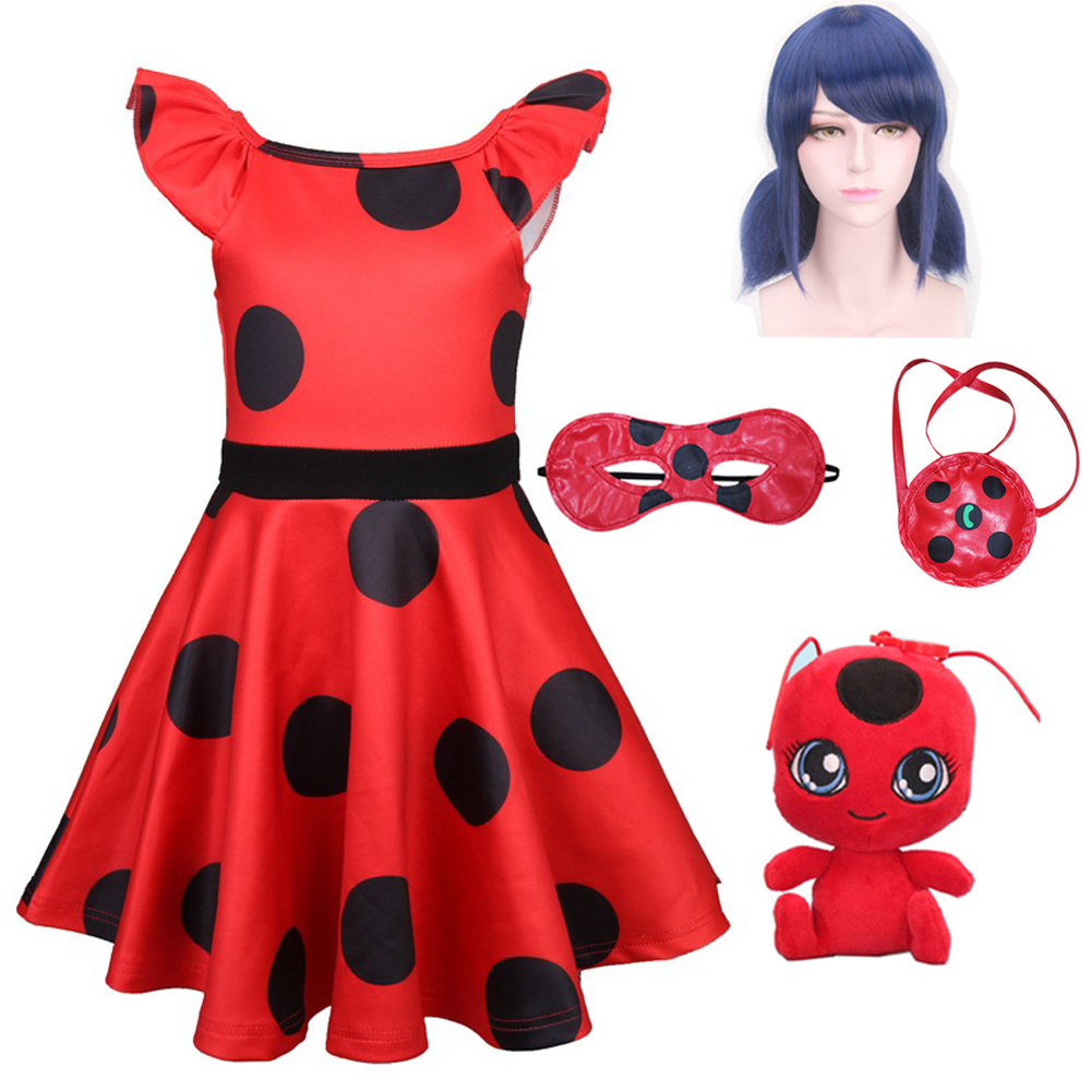 Lady Bug Party Dress Ladybug Cosplay Girls Dress Halloween Costume Baby Girls Dresses Thanksgiving Costume Carnival Costumes