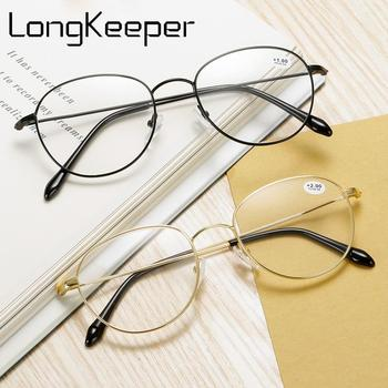 цена на LongKeeper Round Reading Glasses Women Men Fashion Metal Frame Presbyopic Eyeglasses Unisex Gold Silver Clear Lens Spectacle