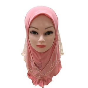 Image 4 - 2019 Meisjes Kids Moslim Pretty Hijab Islamitische Arabische Sjaal Sjaals Bloem Patroon Hoofddoek Kinderen Sjaals Wrap Hoofddeksels Caps Amira