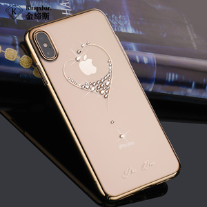 Image 2 - Bling Plating Slim Case For iPhone XS/XS Max 6.5/XR/X Back Hard Cover Crystal Diamond Luxury Brand Clear Thin Shockproof Women