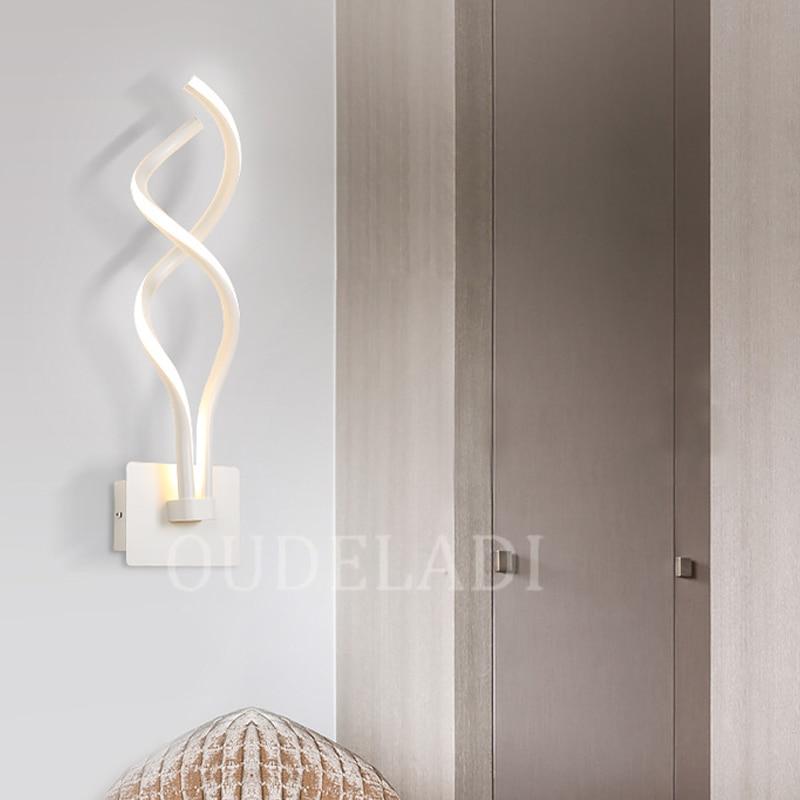 Image 2 - Lámpara de pared de cabecera de dormitorio Led, lámpara artística moderna y creativa, lámpara artística de pared, luces acrílicas para pasillo y escaleraLámparas LED de pared de interior   -